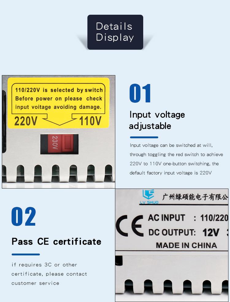 Guangzhou Best Factory 12V 20V 30A 240W 360W CCTV Power Supply