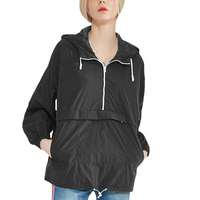 Wholesale Half Zip Hoody Women Blank Windbreaker