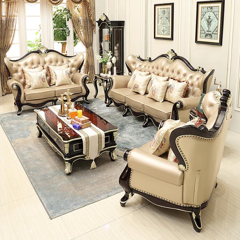 أريكة غرفة معيشة عتيقة ملكية أصلية كنبة جلدية قطع أطقم أرائك أوروبية كلاسيكية أثاث منزلي