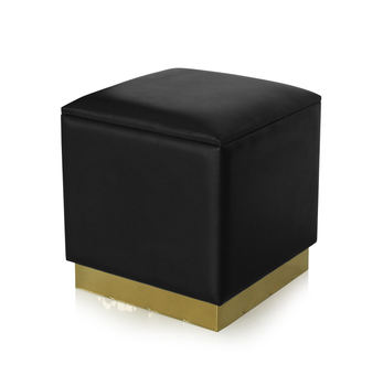 Modern black faux leather cube storage ottoman stool with golden trim