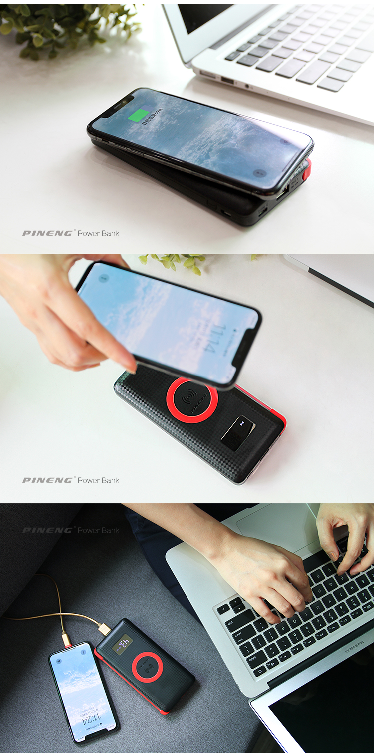Portable 10000 MAh Profesional Slim Li-Polymer Qi Wireless Power Bank untuk Ponsel