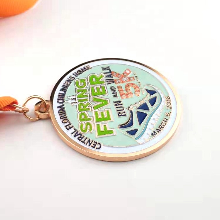 GFT cheap custom high quality sports metal medal with ribbon