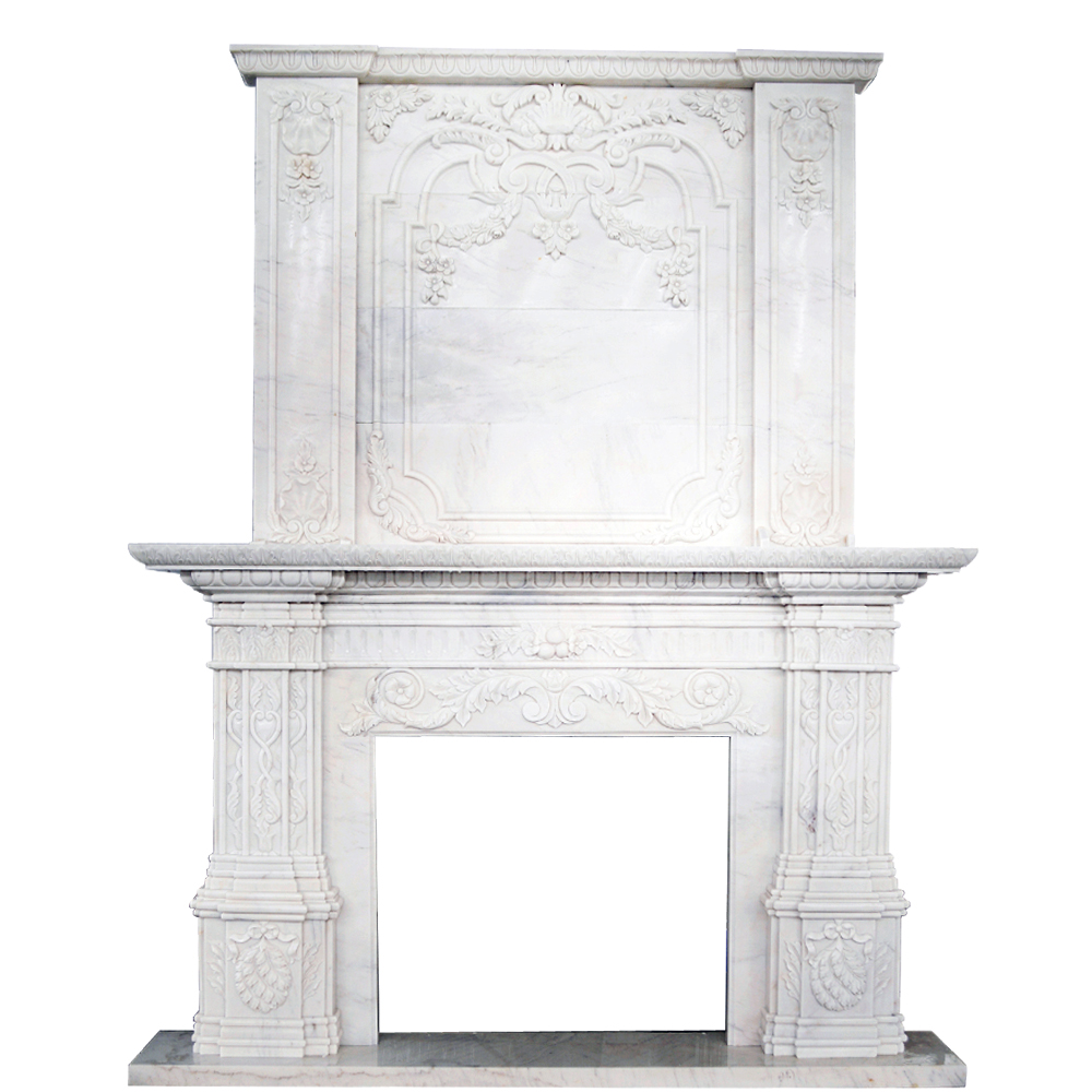 Freestanding natural stone double layer marble large western style fireplace mantel