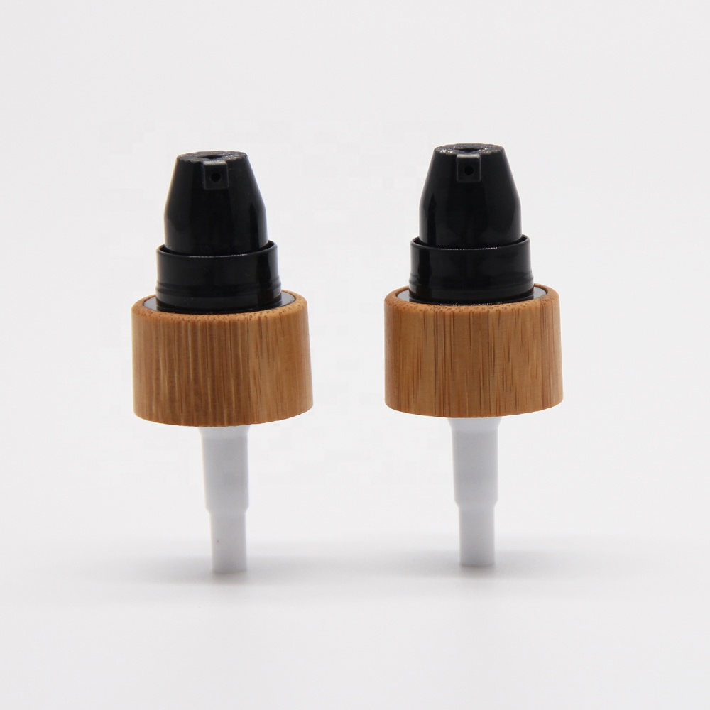 Cosmetic cream bamboo treatment pump plastic screw cap lid