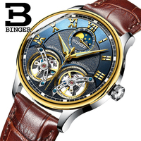 BINGER 8606B L Double Tourbillon Automatic Self-Wind Watches genuine Leather Mechanical luxury Wristwatch
