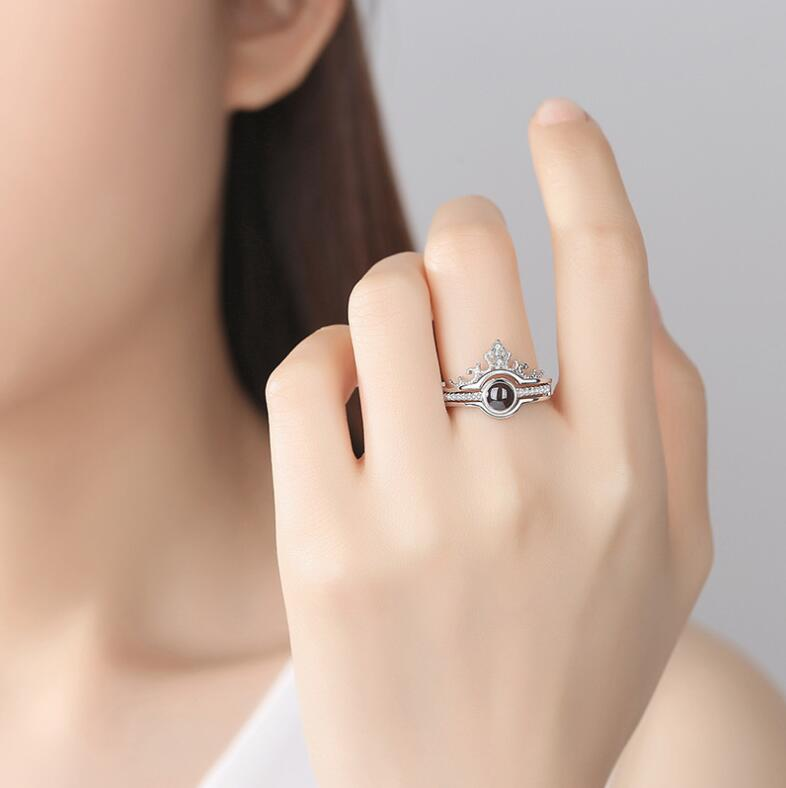 "Hot Sale 925 Sterling Silver Jewelry Crown Ring 100 Languages ""I Love You"" Projection Ring For Girls"