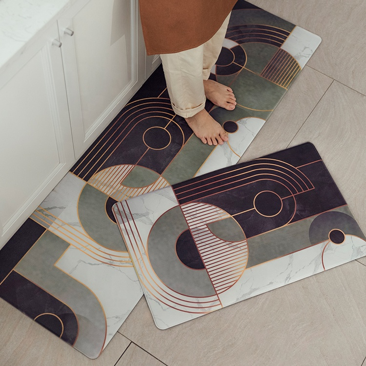 2019 nieuwe ontwerp pvc gedrukt vinyl vloermat vloer pvc anti-slip plastic floor keuken drogen mat