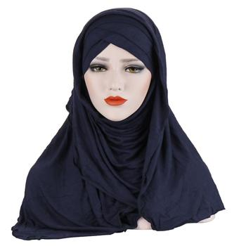2019 Women Plain Instant Cotton Jersey Lightweight Hijab Muslim Scarf Under Scarf Cover Complete Islamic Hat Wear Hijab