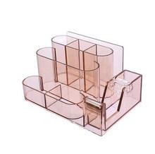 Прозрачная канцелярская коробка для хранения, креативный Настольный органайзер, пластиковый отсек, держатель для ручки, Офисные аксессуар...(Китай)