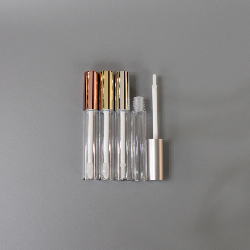 Wholesale Custom Logo Empty Purple Lip Gloss Tube Container with Brush For Liquid Cosmetics Packaging