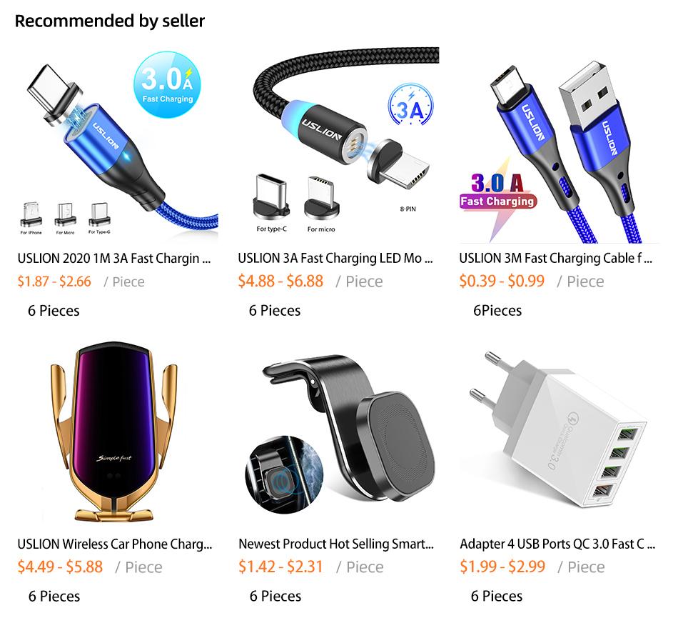 USLION toda venta de Nylon trenzado de cable 1M 180 grados gratis plegable rápido Cable de carga USB para Iphone
