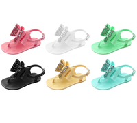 Wholesale cute children's jelly shoes girls kids flip flop glittering bowknot PVC flat sandals