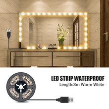 1 м-5 м espejos luces косметическое зеркало лампа USB кабель питание туалетный столик светильник s Декор Ванная комната Водонепроницаемый светодиод...(Китай)