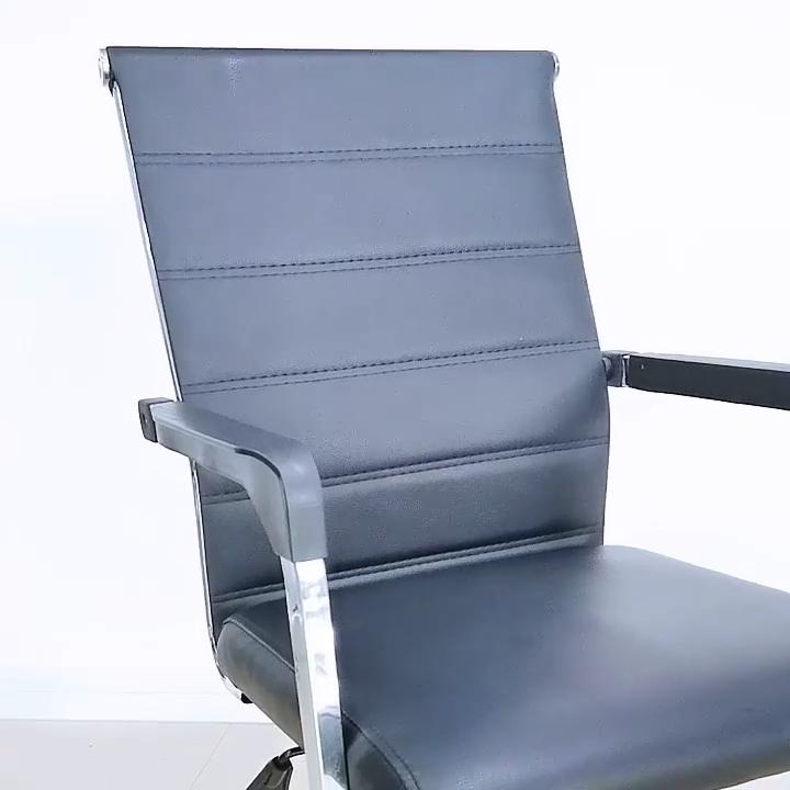 人間工学に基づいたブラックレザーオフィスチェア/モダンなコンピューターオフィス家具回転チェア