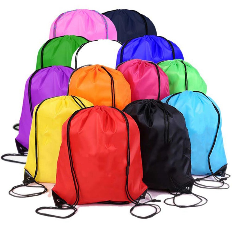 Trending hot products cheap portable custom printed logo drawstring polyester backpack bag