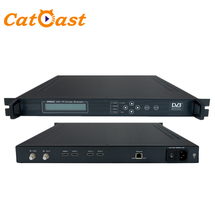 4 canali HDMI Video Encoder H.264 DVB-C RF CATV Modulatore TV Digitale Encoder Modulatore