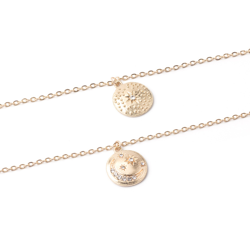 2019 Euro-American Trend Gold Coin with Moon and Star Diamond Multi-layer Necklace set for women
