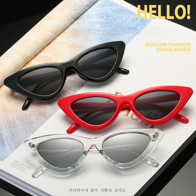 Mn02 Wholesale Metal Hinge Personalized Cat Eye Sunglasses Korea Fashion Triangular Sunglasses Transparent Ocean Film Sunglasses