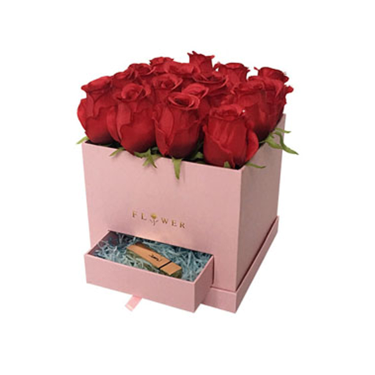 Square cube paper packaging flower gift box with drawer