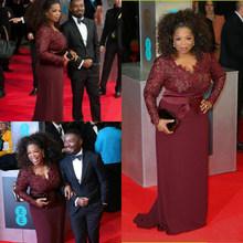 Oprah Winfrey бордовые вечерние платья с длинным рукавом, сексуальные с v-образным вырезом, прозрачные кружевные платья-футляр размера плюс, знаме...(Китай)