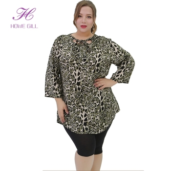 OEM Wholesale Leopard Fashion Casual Long Sleeve Blouse Ladies Plus Size Tops For Women
