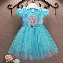 Платье для девочек, летняя детская одежда, платье принцессы Анны и Эльзы из мультфильма «Холодное сердце», карнавальный костюм Снежной коро...(Китай)