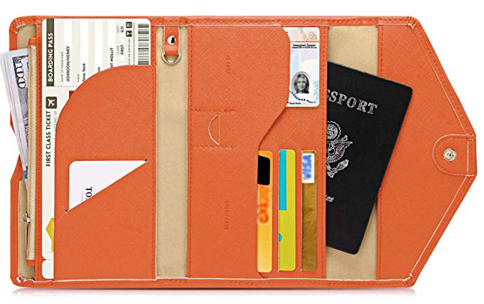 PU leather Passport Holder travel wallet document organizer card Case compartment slot & zipper