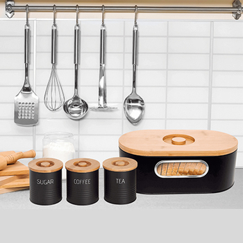 Modern Stylish See-through Bread Box and Tea/Coffee/Sugar Canister Set With Bamboo Lid