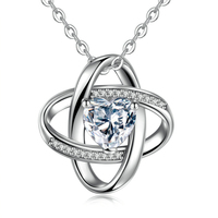 Mother's Day Gift Womens 925 Silver Cubic Zirconia Gemini windmill necklace pendant