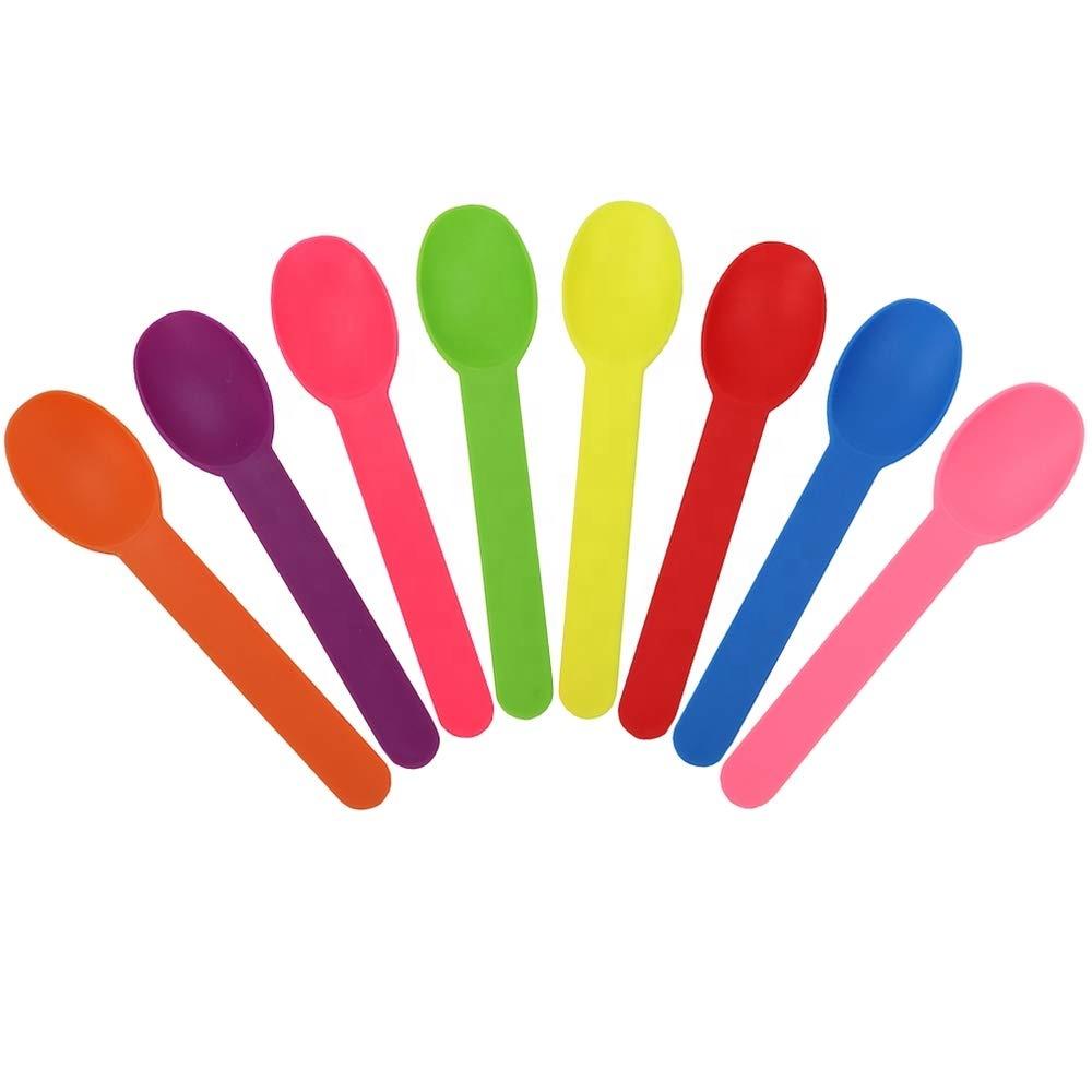 EcoNewLeaf ที่มีสีสันยาวโลโก้ที่กำหนดเองทิ้งช้อนไอศครีมย่อยสลายได้โยเกิร์ตขนมหวานช้อนมินิ
