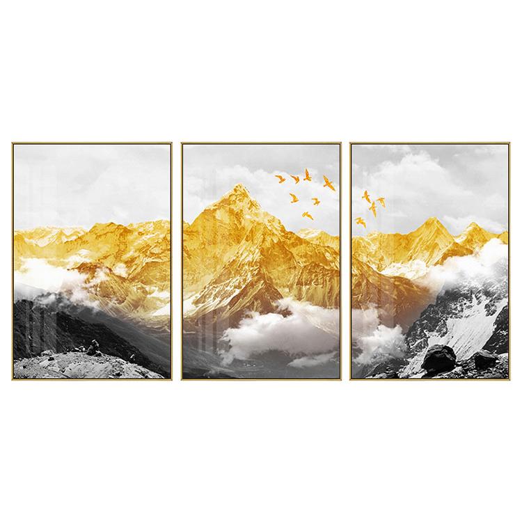 Pintura al óleo moderna de montaña dorada con árbol amarillo pintado a mano, pintura al óleo de paisaje, lienzo, arte de pared, pinturas al óleo abstractas