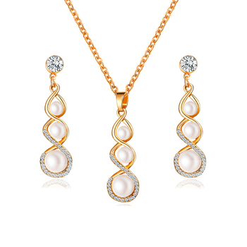 Jewelrox Twisted Trio Pearl Zinc Alloy Fashion Jewelry Sets