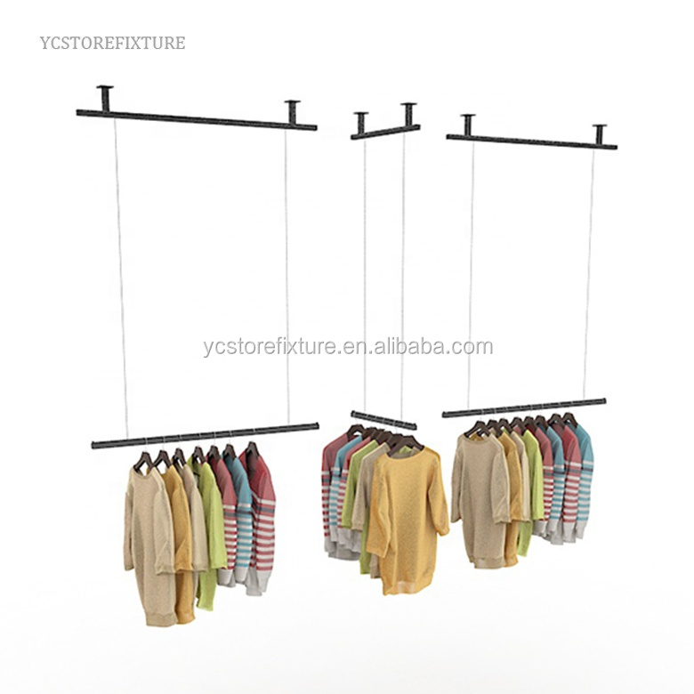 Women's clothes store adjustable ceiling mounted metal hanging rack