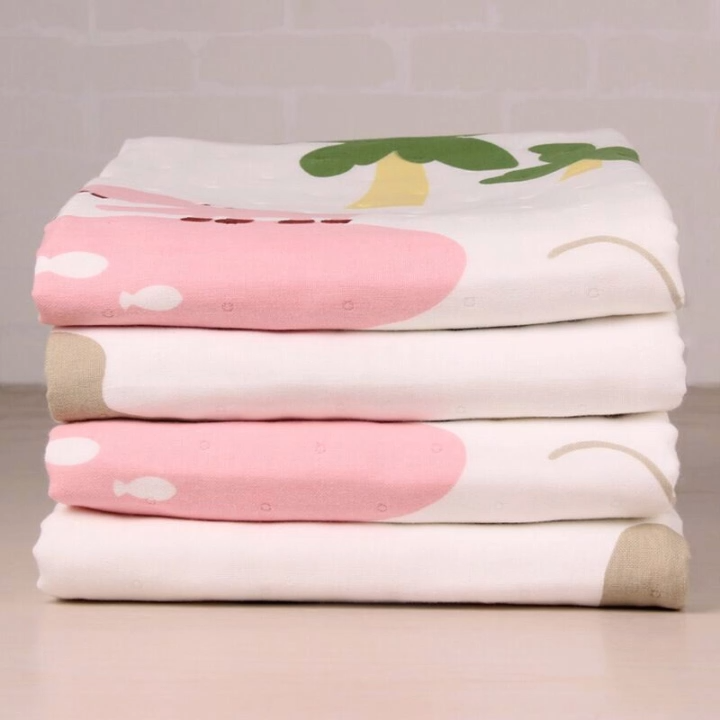 Custom Egyptian Micro Bamboo Cotton Fabric Unbleached Print Muslin Swaddle Blanket Bath Towel For Baby