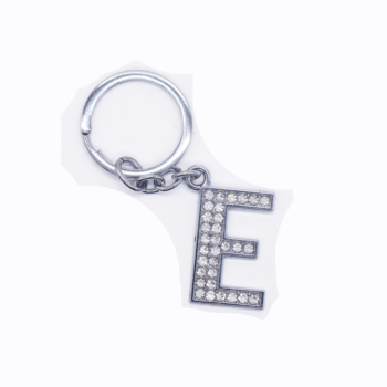 Wholesale 26 English keychain rhinestone E shape letter keychain