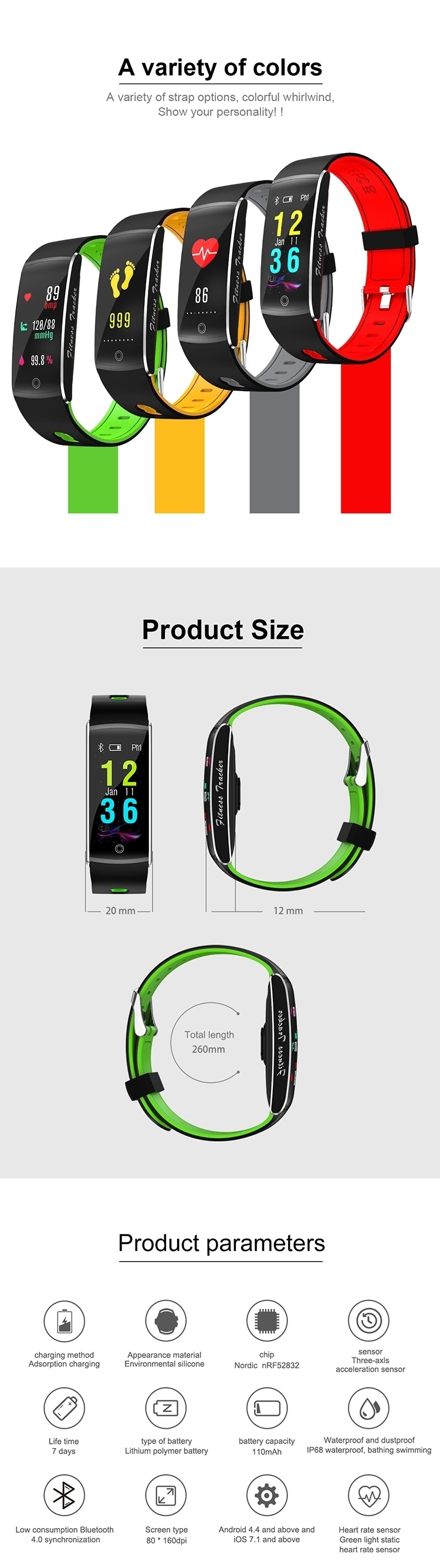 2019 Hot Sell F10 Color Screen Fitness  IP68 With Heart Rate Blood Pressure Smart Watch