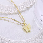 New Fresh Butterfly Necklace Pendant Fashion Women Gold Butterfly Necklace Alloy Acrylic Butterfly Necklace
