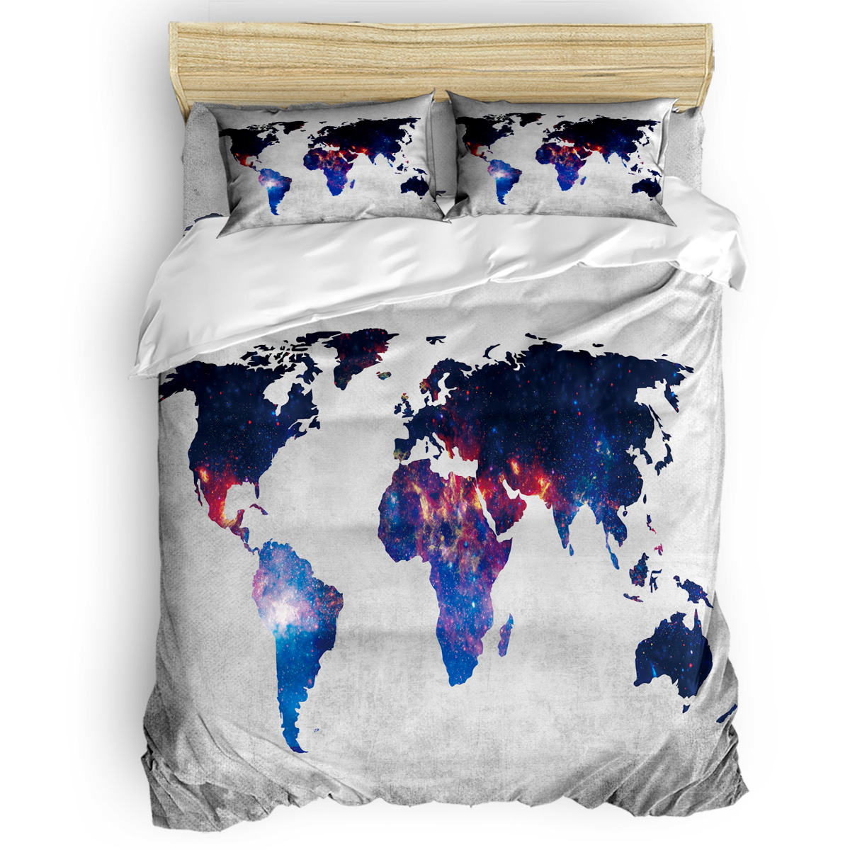 Fancy 3D Printed World Map Design Queen <strong>Size</strong> 4 Pieces Comforter <strong>Sets</strong> for <strong>Bed</strong>