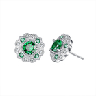 Seven.A SAE0030 Large Stock Hot Sale Party Wedding Round Emerald White Gold Plated Elegant Jewelry Stud Earrings For Girls