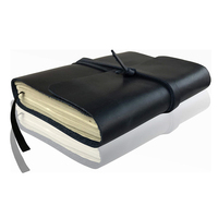 Dark Blue Notebook Writing Book A5 Genuine Leather Cover Diary