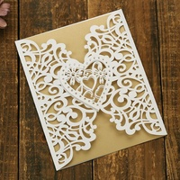 Laser Cut Love Heart Flower Cover Wedding Invitation Cards Jute String Luxury Wedding Invitation Card Design in Paper Crafts