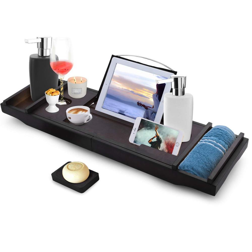대나무 목욕 캐디 욕조 트레이 나무 확장 브리지 홀더 촛불 와인 유리 책 태블릿 Ipad 전화