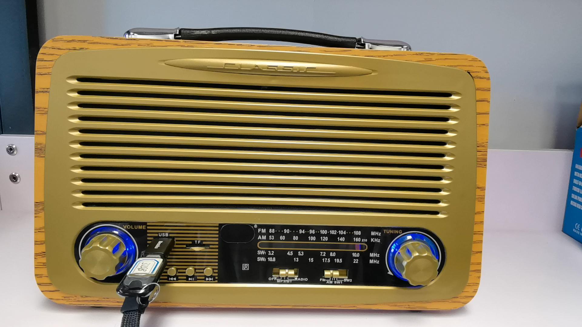 Multi vintage banda de rádio de madeira com blueteeth, usb, mp3 player slot de painel solar e lâmpada r-2055bt