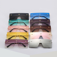 OT8587 Fashion Rivet Rimless Shades Glasses 2020 Square Oversized Sunglasses