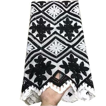 White and black design cotton lace fabric 5 yards wholesale embroidered voile lace latest 3d lace for women dresses