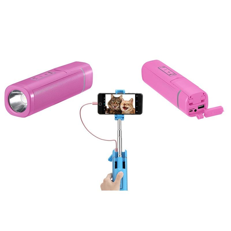 BUBM 2019 New Waterproof Selfie Stick Portable Outdoor Wireless Bluetooth Active Speaker