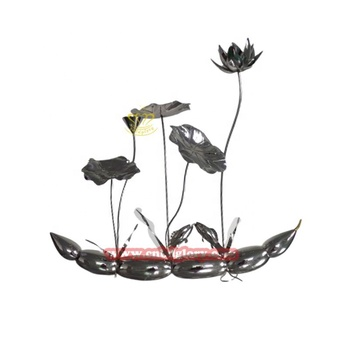 Square Decor Stainless Steel Lotus Flower Sculpture
