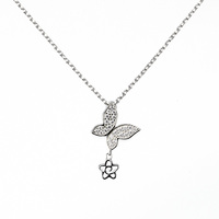Kenturary Fashion Hot Sale Best Price Chain Gold Plated Jewellery 925 Sterling Silver Women Small Butterfly Pendant Necklace