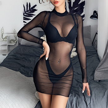 Hot Sale Women Sexy Bikini Blouse Mesh Gauze Black Semitransparent Holiday Bikini Cover Ups Tight Summer Dresses Women Beach