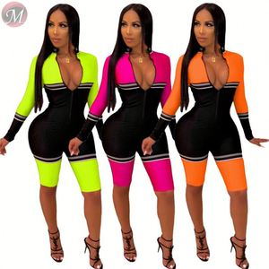 9081214 queenmoen casual fashion patchwork zipper front long sleeve knee length one piece ladies bodycon jumpsuit